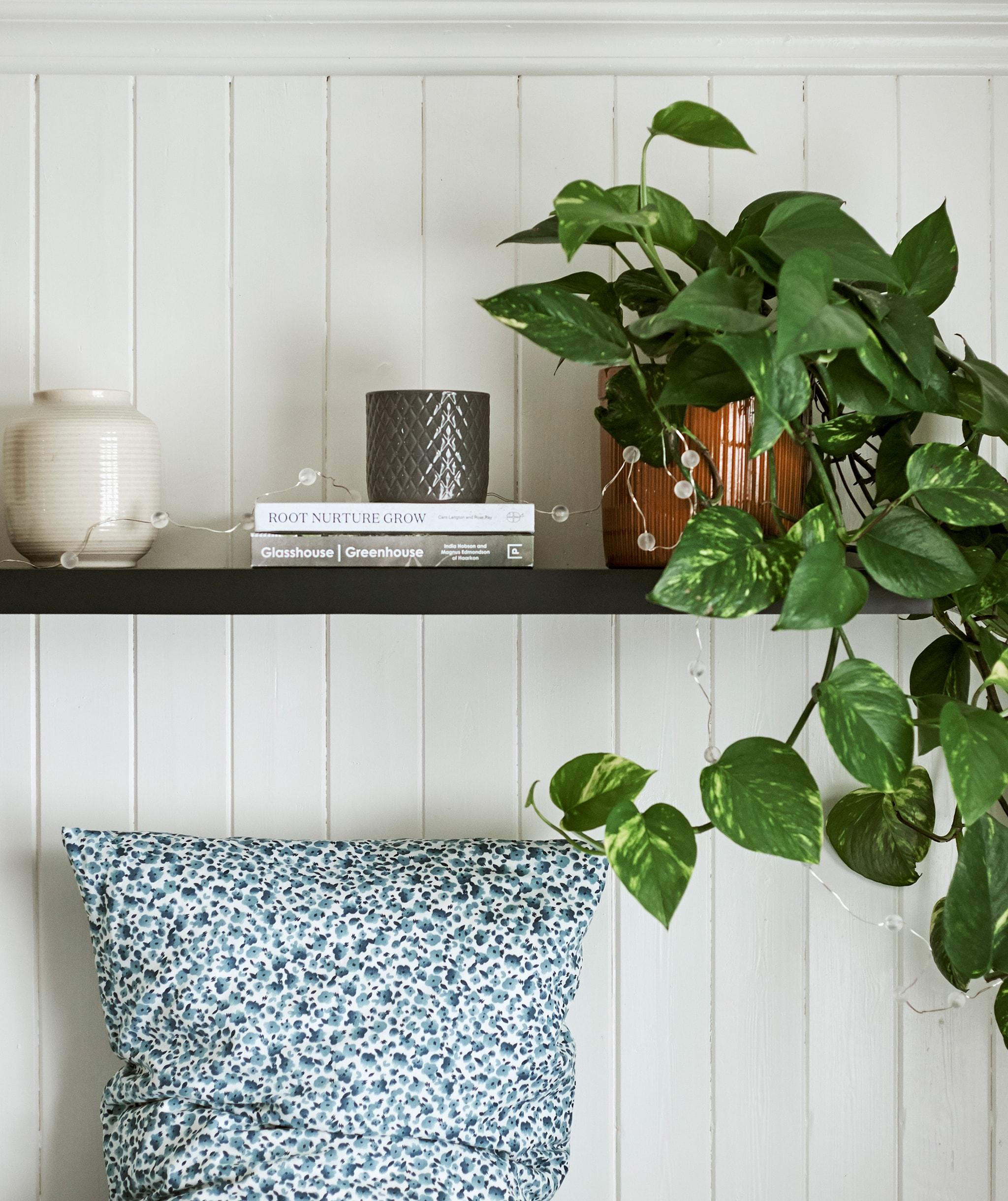 Sebuah tanaman ditampilkan menggunakan vas dan buku-buku di rak berwarna kayu gelap digantung di atas tempat tidur dengan bantal bermotif titik berwarna biru dan putih.