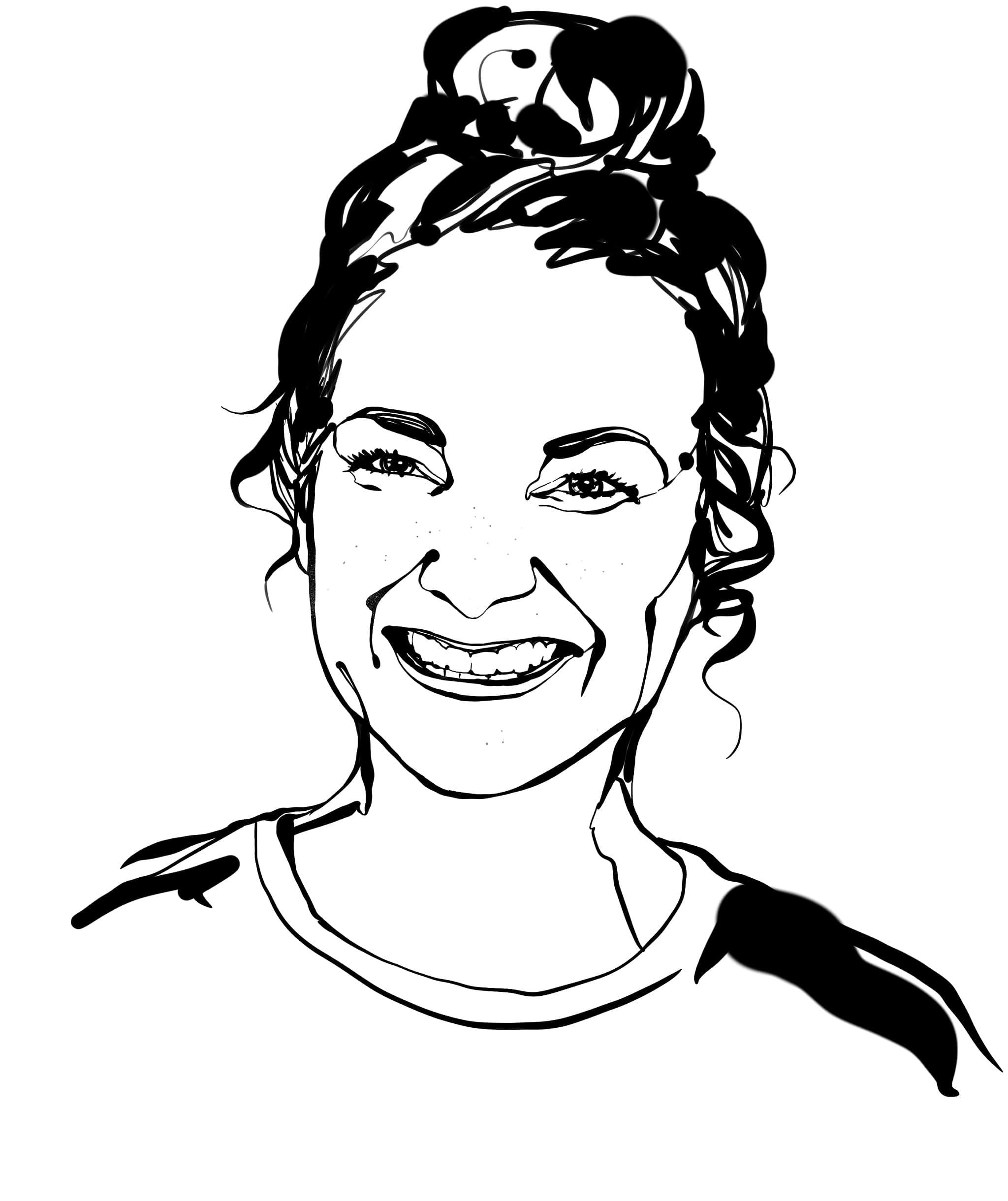 Sketsa hitam putih dari desainer interior, Sara Zetterström; tersenyum, rambut panjangnya diikat tinggi.