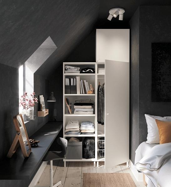lemari baju dengan bentuk dinding kamar tidur