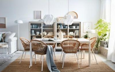 Lengkapi ruang makan minimalis Anda dengan kursi rotan dengan sandaran tangan NILSOVE. Serat alaminya dianyam dengan tangan, sehingga membuat setiap kursi memiliki tampilan unik.