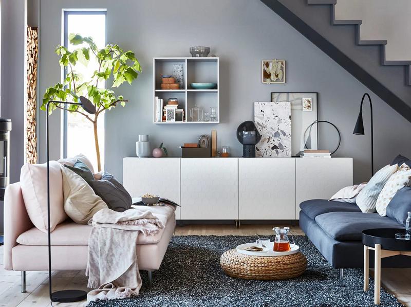 ide ruang keluarga dengan kotak penyimpanan