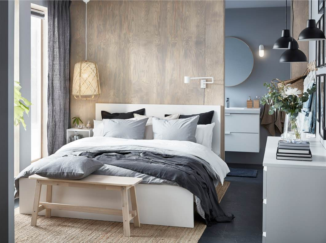 The stylish, small bedroom with luxury details