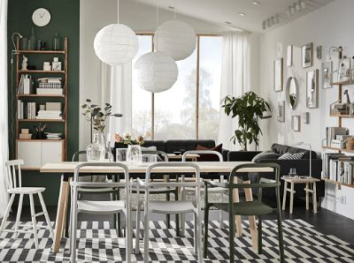 Kesan alami di ruang makan bergaya Skandinavia
