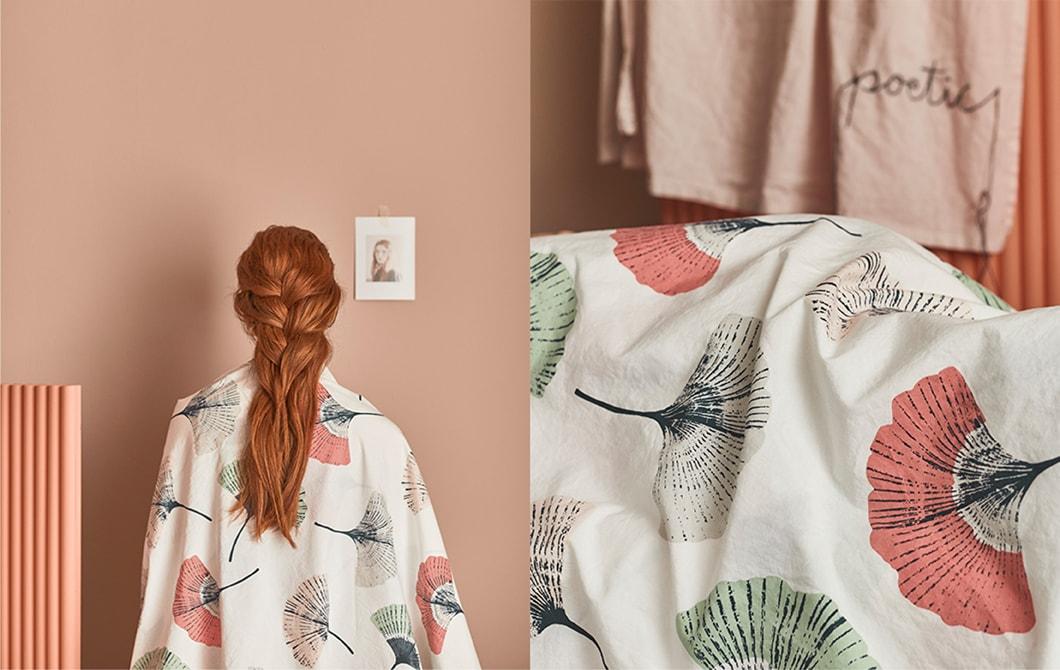Meringkuk di tekstil yang nyaman