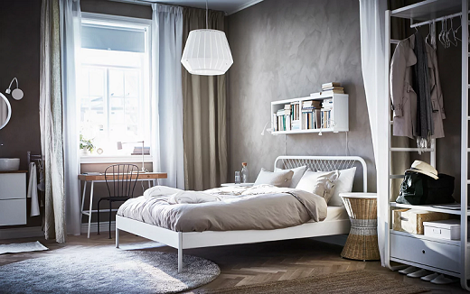 Kamar tidur bergaya Nordik, yang ramah pada dompet Anda